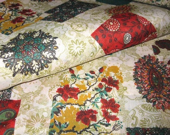 1960s Vintage Cotton FLORAL Fabric -  Collage of Asian Patterns  - Red Green Sage - NOS