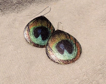 lightweight dangle metal peacock earrings