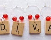 Scrabble Wine Glass Charms Markers Tags any custom set of 4 letters beads initials name