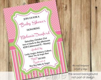 Pink + Green Baby Shower Invitation Girl, Polka Dots and Stripes Pink and Green Girl Baby Shower Invitation, Printable Invitation, Printed