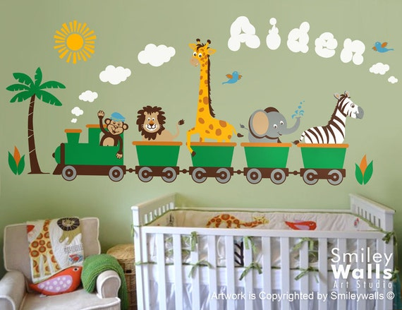 personalized safari jungle animals train huge wall by smileywalls. Black Bedroom Furniture Sets. Home Design Ideas