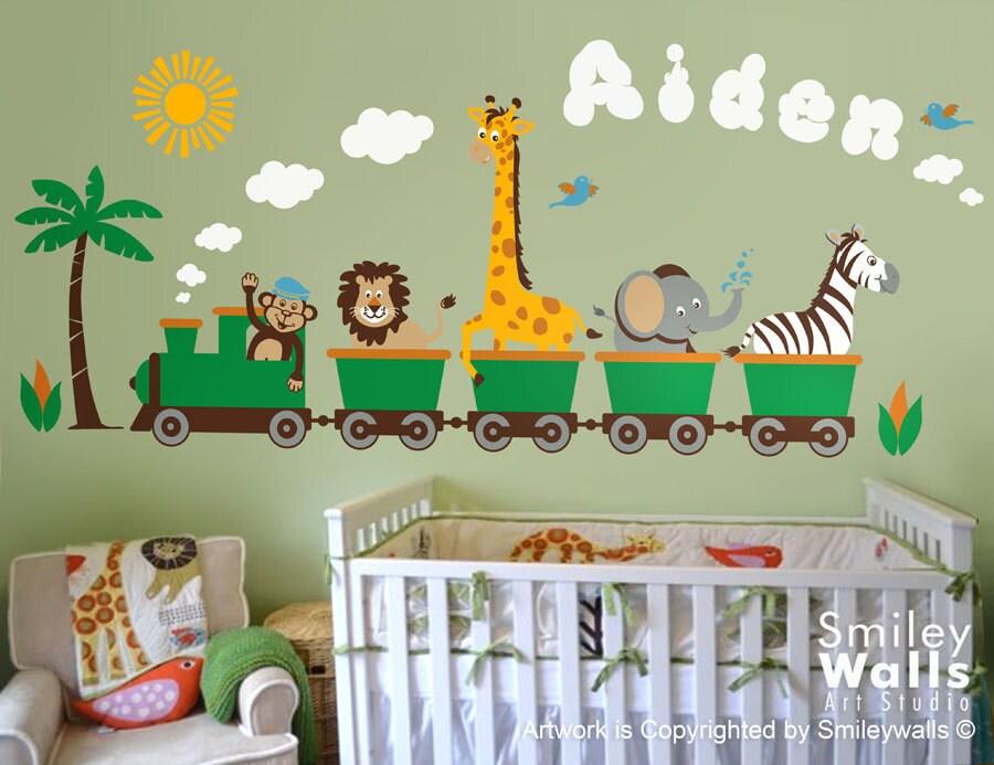 Personalized Safari Train Wall Decal Jungle Animals Train Wall - Nursery wall decals jungle