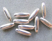 BEADS, OVAL Sterling, Silver, 10 x 4mm, Rice, Smooth, 20 Pieces, Bright, Olive, , Destash