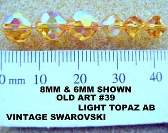 Beads, Vintage, Swarovski, Rare Color, 6mm,  LIGHT TOPAZ AB,  Old Article 39, 12 Pieces