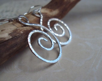 Hand Hammered Sterling Spiral Earrings,  Silver Swirl Jewelry, Under 25