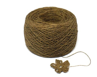 Crochet Thread 3 Ply Linen Thread Sable Brown Linen Yarn Specialty Thread Tatting Thread Natural Eco Friendly Flax