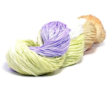 150 Yards Hand Dyed Cotton Crochet Thread Size 10 3 Ply Lavender Pale Charteuse Peach Tan Hand Painted Fine Cotton Yarn