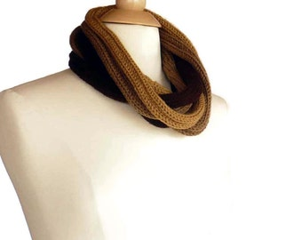 Knit Scarf Knit Cowl Knit Infinity Scarf I Cord Rope Scarf Mocha Chocolate Brown Light Brown Knit Neck Warmer