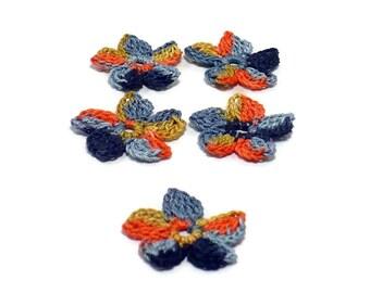 Crochet Applique Mini Flower Motif Flower Embellishment Crochet Flower Applique Black Orange Crochet Motif Crochet Flower Motif Halloween
