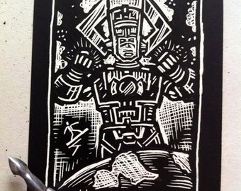 Galactus Scratchboard Art Card