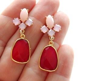 Ruby Stone Earrings - Bezel Set Earrings - Large Gemstone Earrings - Gold Earrings