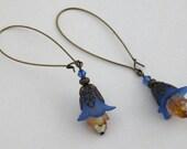 Sapphire Blue/Orange Lucite Petunia Flower and Orange Crystal Drop Hoop Earrings with Antique Brass