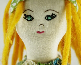 Steph: Handcrafted Calliope Cloth Rag Doll Vintage Upcycled OOAK Vegan 18 inches