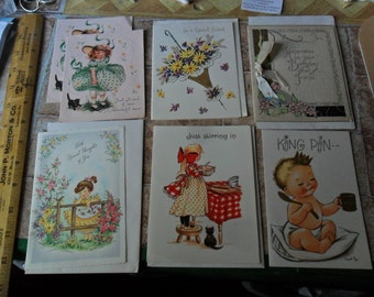 7 Vintage Cards - assorted