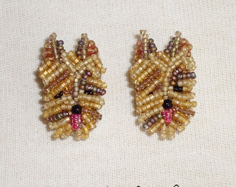 Beaded YORKIE Yorkshire Terrier dog sterling silver bead embroidery post earrings / Ready to Ship