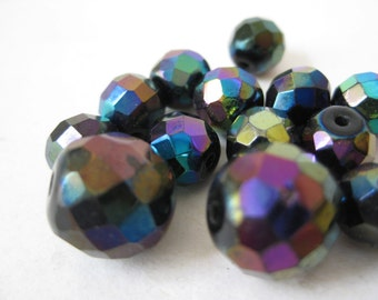 Black Aurora Borealis Beads Faceted Vintage Glass