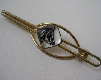 Horse Tie Clip Gold Bar Vintage