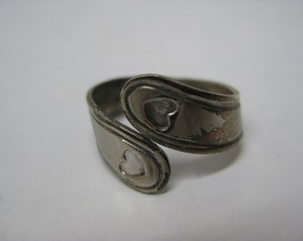 Shabby Heart Sterling Silver Ring Adjustable Vintage 925