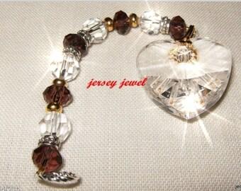 DEEP PURPLE Heart Crystal Suncatcher, Car Jewel, Ornament, Feng Shui, sun catcher