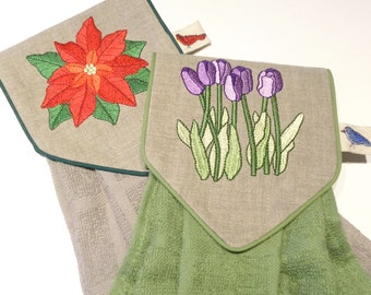Flowers in Bloom Machine Embroidery Designs sc076d and Towel Topper Sewing Directions in PDF