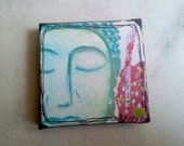 "Buddha, Mixed media on canvas, 4"" x 4"""