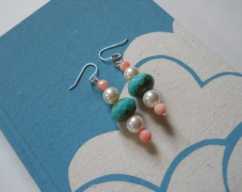 Her Hatpin earrings - Swarovski pearls, coral, turquoise, pink, white