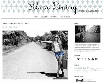 Premade Blogger Template - SILVER LINING - Mobile Responsive - Graphic Design - Blog Template