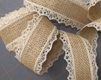 LAST CHANCE ~ Natural Burlap ribbon with Tan Lace
