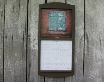 handmade 12 x 24 calendar wood frame holder in chocolate coffee brown medium size