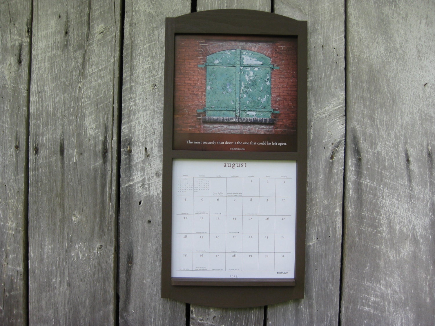 Calendar Wooden Frame : Handmade calendar wood frame holder in by