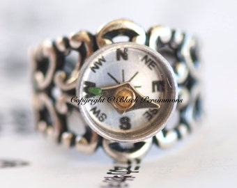Compass Ring - Working compass - Made in USA Antique Sterling Silver Plated Brass - Insurance Included