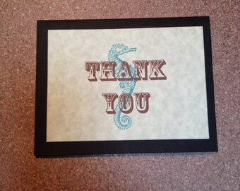 seahorse theme thank you pocket note card