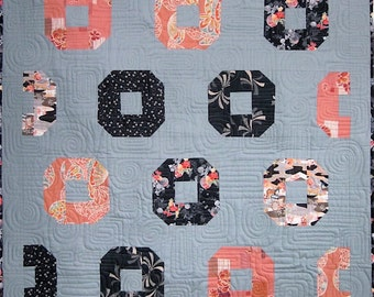 Patchwork Quilt - coral, gray and black Japanese Donuts