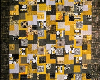 Patchwork Quilt - black, gray and gold West African wall hanging