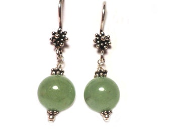 "TRANQUIL SEA  Pale Green Aventurine .925 Sterling Silver 1.5"" Earrings E614"