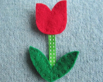 SUPER CUTE PROMO : Felt Tulip Brooch