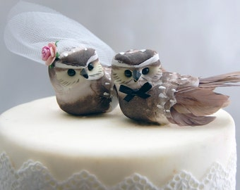 Owl Cake Wedding Topper in Cocoa Brown: Bride & Groom Love Bird Cake Topper -- LoveNesting Cake Toppers