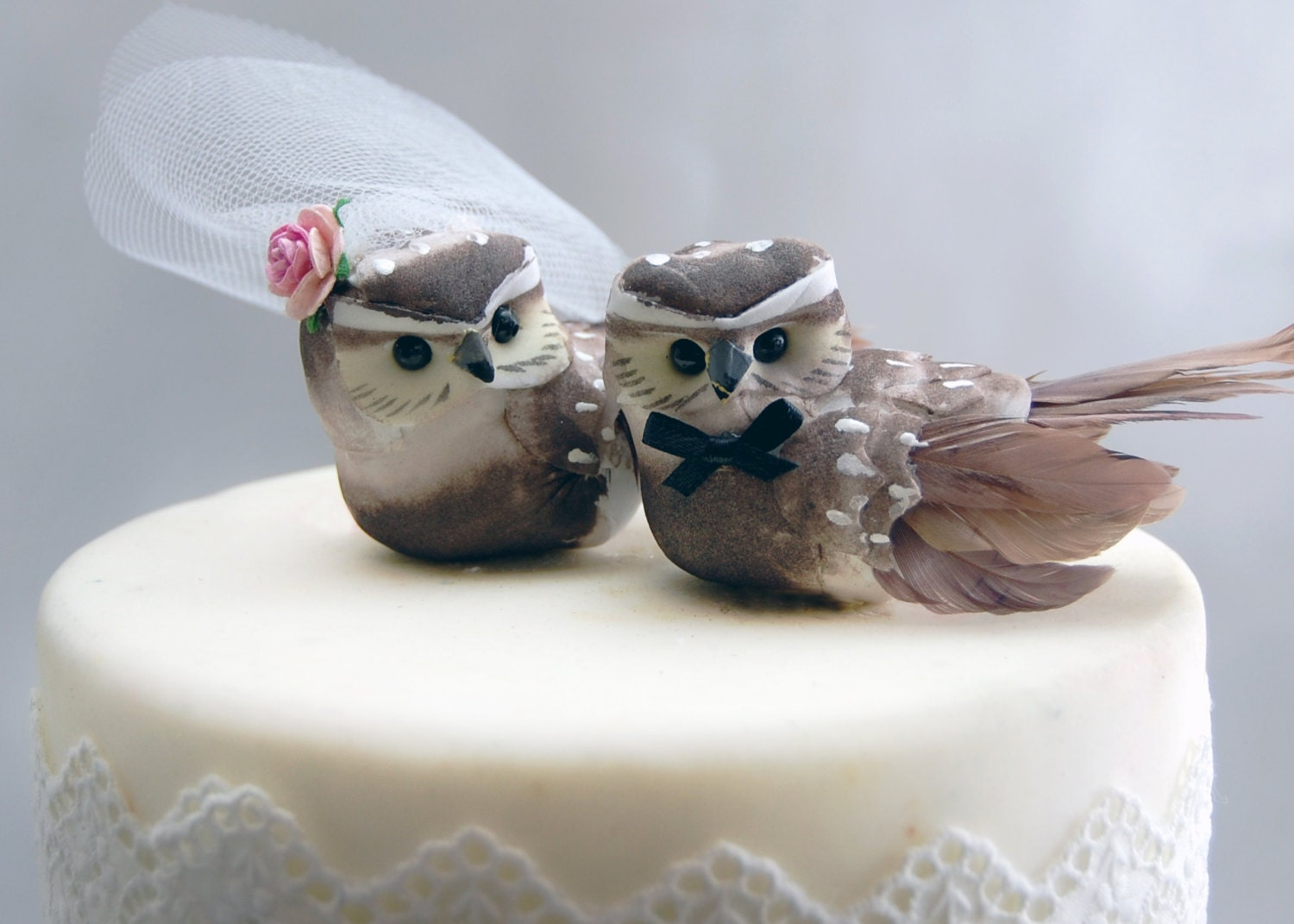 wedding cake bird toppers owl cake wedding topper in cocoa brown amp groom 8572