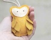 Felt Owl Ornament // Yellow // Hostess Gift // Door Knob Hanger // Plush Nursery Decor by OrdinaryMommy