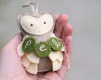 Personalized Owl Ornament Felt. Baby's First Christmas. Monogram Ornament. Plush Ornament Keepsake. Handcrafted by OrdinaryMommy