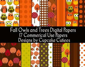 Owls Fall and Trees Dot Paper Digital  Collage Sheets 8.5 by 11 Papers InsTanT DownLoAd