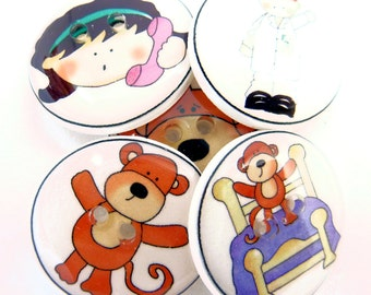 """5 Monkey Jumping on the Bed Novelty Buttons. Children's Handmade Decorative Craft Buttons. Sew on.  3/4"""" or 20 mm."""