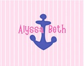 Striped custom personalized note cards nautical anchor pink blue hot pink children stationery kids notecards