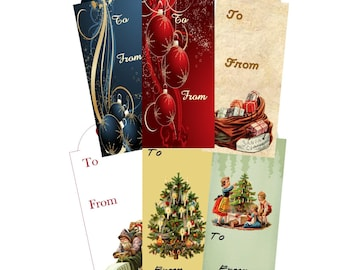 Digital Christmas Gift Tags Collage, Fancy Gift Tags, Gift Tag Collage, Instant Download and Print, Special Design Holiday Gift Tag Collage