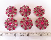 Set of 6 Rhinestone Hot Pink Buttons - 28mm size - Acrylic Button