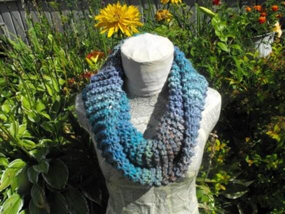 Womens Warm Hand Knit Womens Blue Cowl