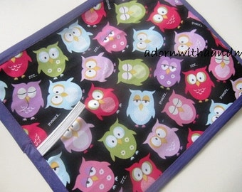 Chalkimamy Owls at Midnight  TRAVEL chalkboard mat placemat  (a)