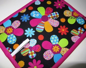 Chalkimamy Bright flowers TRAVEL chalkboard mat/ placemat (a)