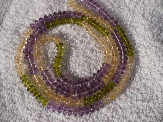 Amethyst Peridot Citrine Rondelles Beads Gemstone Necklace