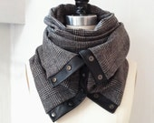Charcoal ultra soft plaid Chunky circular infinity unisex  scarf , men's scarf , women scarf